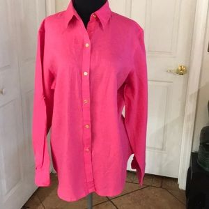 Chaps classic linen blouse in pink. L nwot